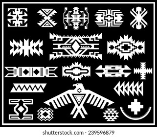 Aztec Navajo Indian American vector pattern illustration set