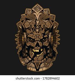 Aztec ornament skull mask illustration