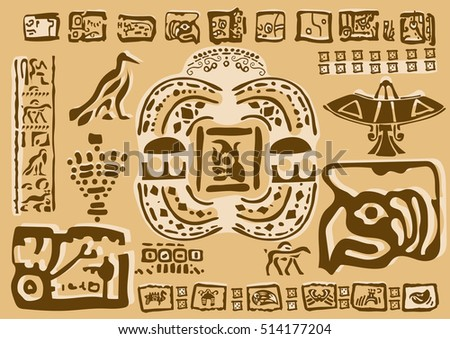 Aztec Ornamental Tribal Elements Symbols Ancient Stock Vector