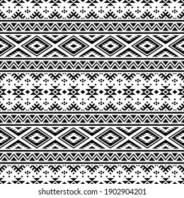 Aztec Seamless Ethnic Pattern Illustration vector with tribal design in black and white color