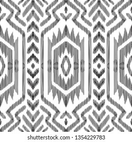 Aztec seamless pattern. Vector ikat background. Can be used for textile, wallpaper, wrapping paper, greeting card backdrop, print.