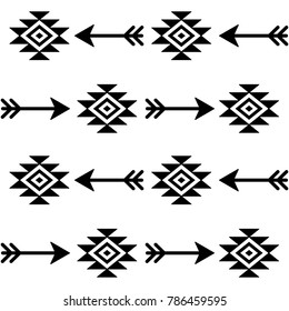 Aztec seamless vector pattern with arrows, Indian navajo fabric design, Tribal art.  Black and white wallpaper with arrow and trbial symbols, monochrome cool background