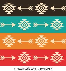 Aztec seamless vector pattern with arrows, retro Indian navajo fabric design, Tribal art.