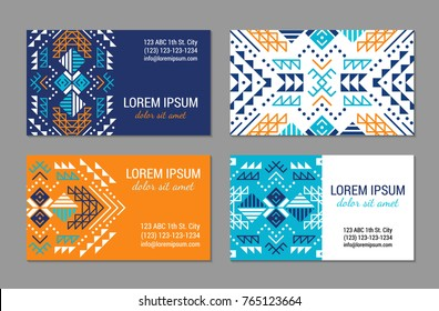 Aztec style colorful business card set. American indian ornamental pattern design. Ornate blank with ethnic motifs. Tribal decorative template. EPS 10 vector concept.