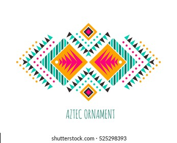 Aztec style colorful ornament. American indian ornamental pattern design. Tribal decorative template. Ethnic ornamentation. EPS 10 vector background. Isolated.