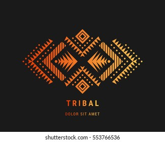 Aztec style colorful ornament. American indian ornamental pattern design. Tribal decorative template. Ethnic ornamentation. EPS 10 vector background.