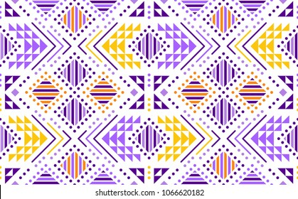 Aztec style seamless geometry backdrop with tribal ornament. Ornamental ethnic background collection. Use for fabric prints, surface textures, cloth design, wrapping. EPS 10 vector illustration.