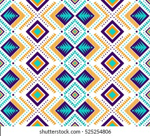 Aztec style seamless pattern with tribal ornament. Ornamental ethnic background collection. Can be used for fabric prints, surface textures, cloth design, wrapping. EPS 10 vector illustration.