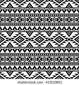 Aztec stylized seamless pattern. Ethnic print template for textile and paper. Boho chic design. Abstract background with folk motives. Black and white.