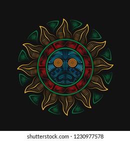 Aztec Sun God. Vintage coorful line art. Sun tatto. Aztec geometric sun. Print ornament. Colorful sun.