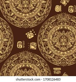 Aztec sun stone seamless pattern. Mayan calendar. Mexican mesoamerican monolith. Totem. Ancient hieroglyph signs and symbols