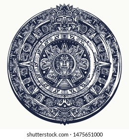 Aztec sun stone. Tattoo and t-shirt design. Mayan calendar. Mexican mesoamerican  monolith. Totem. Ancient hieroglyph signs and symbols