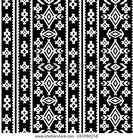 Aztec Tribal Art Seamless Pattern Black Stock Vector Royalty Free Simple Aztec Tribal Pattern