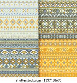 Aztec tribal ethnic motifs geometric patterns set. Geometric tribal motifs clothing fabric textile ethno prints traditional design. Native american folk fashion prints.