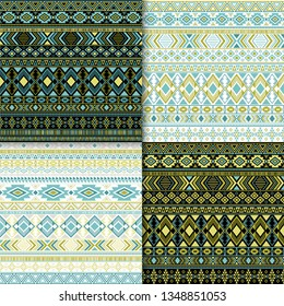 Aztec tribal ethnic motifs geometric patterns collection. Abstract tribal motifs clothing fabric textile ethno prints traditional design. South american folk fashion prints.