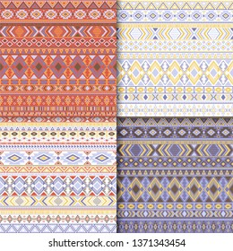 Aztec tribal ethnic motifs geometric patterns set. Bohemian tribal motifs clothing fabric textile ethno prints traditional design. Native american folk fashion prints.
