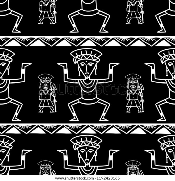 Aztec Tribal Pattern Vector Hand Drawn Stock Vector (Royalty Free
