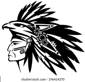 aztec warrior images stock photos vectors shutterstock Aztec Patolli aztec tribe warrior wearing feather headdress with eagle profile head black and white vector outline