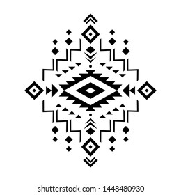 Aztec vector element, ethnic ornament. Tribal design, geometric symbol for border, frame, tattoo, logo, card, decorative works. Navajo motif, isolated on white background.