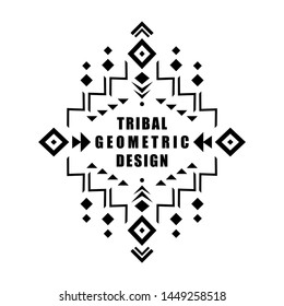 Aztec vector element, ethnic ornament. Tribal design, geometric symbol for tattoo, logo, cards, decorative works. Navajo motif, isolated on white background.
