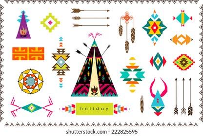 Aztec vector elements set