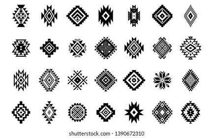 Aztec vector elements. Set of ethnic ornaments. Tribal design, geometric symbols for tattoo, logo, cards, decorative works. Navajo motifs, isolated on white background.