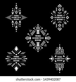 6e060c5a5b1f6 Aztec vector elements. Set of ethnic ornaments. Tribal design, geometric  symbols for border