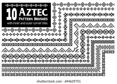 Aztec vector pattern brushes with inner and outer corner tiles. Perfect for creating design elements, tribal geometric ornament, frames, borders and more. All used brushes included in brush palette.
