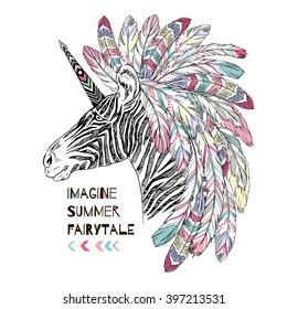 aztec zebra unicorn, summer art print