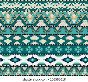 Aztecs seamless pattern on cold color