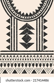 Aztec,tribal t-shirt print in charcoal color