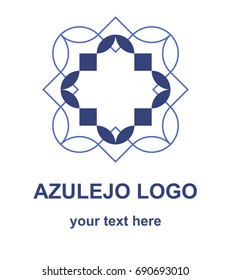 Azulejo tile symbol. Ornamental logotype template. Minimalistic flat logo concept for ceramic tiles store, home decor shop or interior design salon. Vector design element isolated on white background.