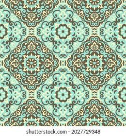 Azulejos ceramic tile design. Talavera tracery motif. Unique creative endless fill swatch. Portuguese, Spanish, Mexican, Brazilian folklore ornament. Ethnic style vector hand drawn seamless pattern.