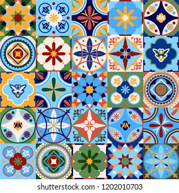 Azulejos portugal. Turkish ornament. Moroccan tile mosaic. Ceramic tableware, folk print. Spanish pottery. Ethnic background. Mediterranean seamless wallpaper.
