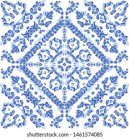 Azulejos - Portuguese Dutch and oriental tile in classical shades of blue colors Inherent similarly style arabesque. Baroque Vector mosaic. Rococo ornament