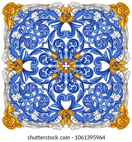 Azulejos Portuguese Dutch tile in shades of blue and yellow colors pattern. Baroque tiles. Vector Baroque. Rococo
