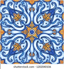 Azulejos Portuguese Dutch tile in shades of blue and yellow colors pattern. Baroque tiles. Vector illustration