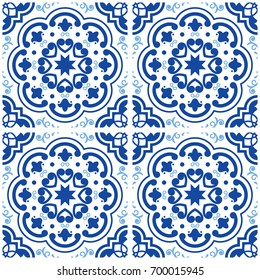 Azulejos Portuguese tile floor pattern, Lisbon seamless indigo blue tiles, vintage geometric ceramic design, Spanish vector background