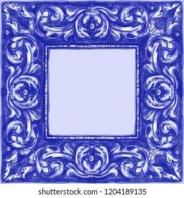 Azulejos - Portuguese tiles blue watercolor pattern. Traditional tribal ornament. Vector imitation of ceramics