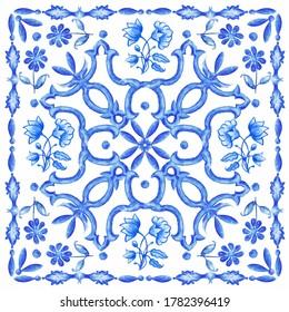 Azulejos - Portuguese tiles blue watercolor pattern. Traditional tribal ornament. Capri Maiolica