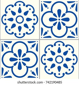 Azulejos Portuguese vector tiles pattern, Lisbon seamless indigo blue tile design, Spanish vector background Floral and abstract shapes texture inspired by traditional tiles from Portugal and Spain