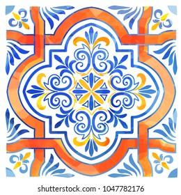 Azulejos Portuguese watercolor blue pattern. Vector illustration