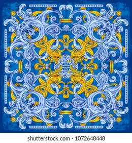 Azulejos Portuguese watercolor blue pattern. Vector illustration