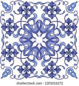 Azulejos Portuguese watercolor blue pattern. Baroque tiles. Vector illustration