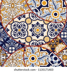 Azulejos tiles patchwork abstract wallpaper, vector seamless pattern for fabric texture paper print  ecc
