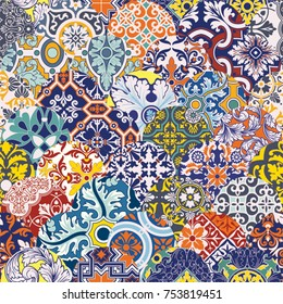 Azulejos tiles patchwork vector seamless pattern