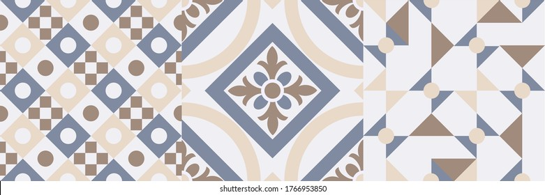 Azulejos, Traditional ornate geometric portuguese decorative tiles. Abstract background. Vector hand drawn illustration, typical portuguese tiles, Ceramic tiles. Set of mandalas