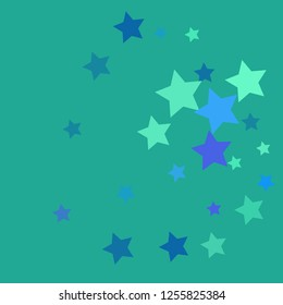 Azur vector background with beautiful blue, violet, turquoise, azur stars. Modern geometrical abstract illustration with blue pentagonal stars. The pattern can be used for wrapping gifts. Turquoise.