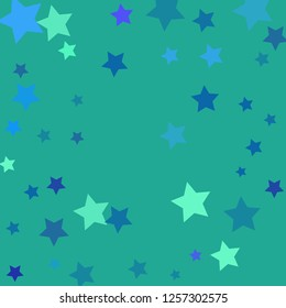 Azur vector background with beautiful blue, violet, turquoise, azur stars. Modern geometrical abstract illustration with blue pentagonal stars. The pattern can be used for wrapping gifts.