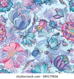 Azure Floral Vector Pattern | Seamless floral texture with doodle lily, lotus and peonies on blue background